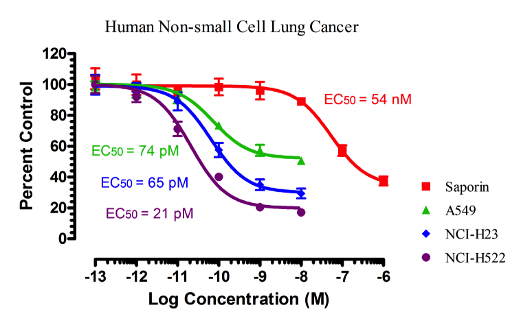 Cytotoxicity Assay: Three Human Non-Small Cell Lung Cancer cells line were challenged with an antibody directed to a cell surface receptor conjugated to the ribosome inactivating protein saporin.  Saporin alone was used as a control.  This type of assay allos for a large number of targeting agents to be screened quickly and cost-efficiently for specificity, functional binding, internalization, and EC50 determination.